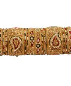 Bracelets Mariée 2 - Parure dorée de Bracelets avec pierres blanches, bordeaux, vertes scintillantes