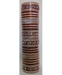 Bracelets Mariée 3 - Parure de Bracelets avec pierres blanches, bordeaux scintillantes