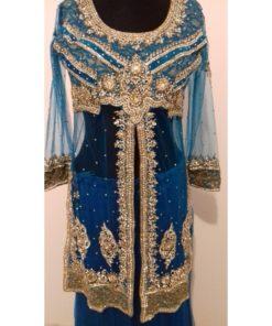 Lehenga Choli - Ensemble jupe bleu + pantalon avec pierres blanches scintillantes, châle accompagné d'une tunique à l'intérieur permettant de ne pas dévoiler la partie du ventre