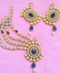 Parure 11 - Bijoux de front avec pierres blanches scintillantes et bleu ainsi que ses boucles d'oreilles assorties
