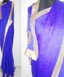 Sari - Sari bleu avec tissu pour bustier