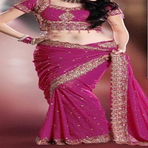Sari Mariée - Sari avec plis déjà fait, et tissu pour bustier. Broderies argentées et dorées au niveau de la poitrine, bras et bordures.