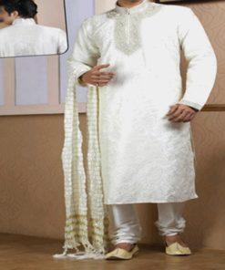 Sherwani Homme - Ensemble 3 pièces comprenant la longue tunique avec col montant orné de fils argentés, le pantalon ainsi que le châle