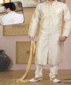 Sherwani Homme - Ensemble 3 pièces comprenant la longue tunique avec col montant, le pantalon ainsi que le châle