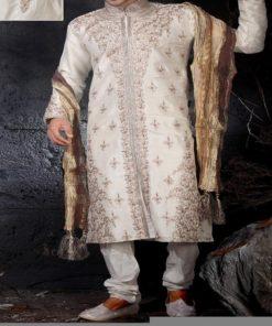 Sherwani Homme Marié - Ensemble de marié 3 pièces comprenant la longue tunique avec col montant, le pantalon ainsi que le châle.