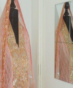 Shuridar 9 Rose - Ensemble trois pièces comprenant la tunique (manches longues), le pantalon style slim avec fermeture zip et le long châle.