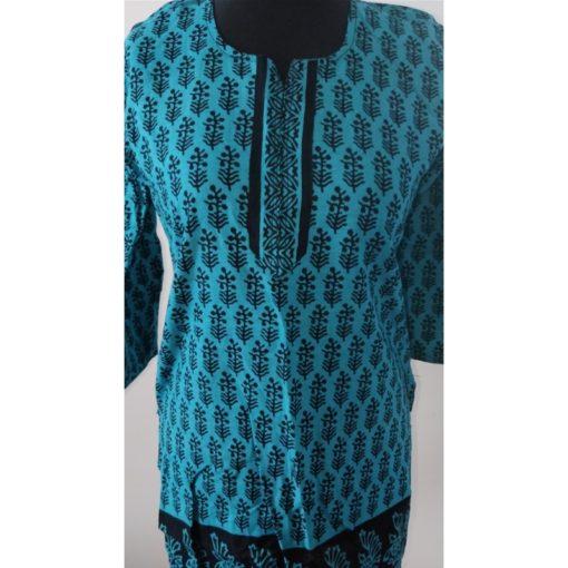 Tunique Femme - Tunique bleu en coton avec fentes sur les côtés. Manches longues.