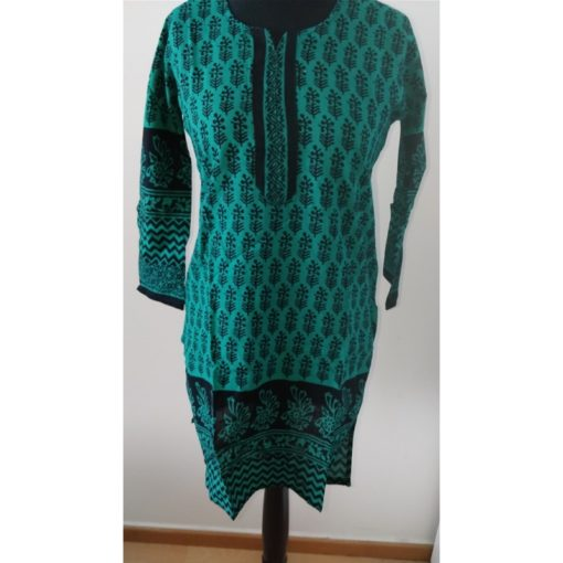 Tunique Femme - Tunique verte manches longues en coton avec fentes sur les côtés