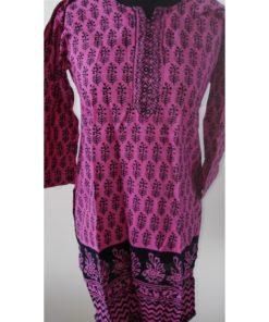 Tunique Femme - Tunique rose manches longues en coton avec fentes sur les côtés.