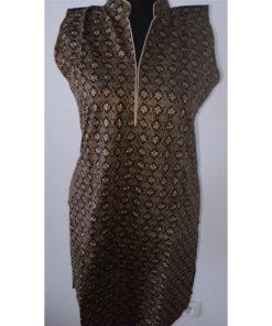 Tunique Femme - Tunique bleu manches courtes en coton, col montant avec fentes sur les côtés